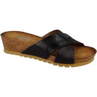 Schoenen Dames Leren slippers Down To Earth  Zwart