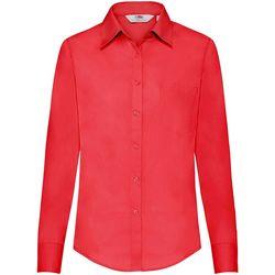 Textiel Dames Overhemden Fruit Of The Loom Poplin Rood