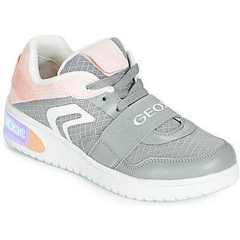 Schoenen Meisjes Hoge sneakers Geox J XLED GIRL Grijs / Roze / Led
