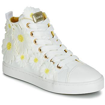 Schoenen Meisjes Hoge sneakers Geox JR CIAK GIRL Wit / Bloemen / Geel