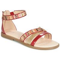 Schoenen Meisjes Sandalen / Open schoenen Geox J SANDAL KARLY GIRL Rood / Goud