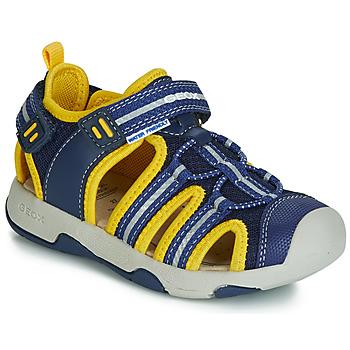 Schoenen Jongens Sandalen / Open schoenen Geox B SANDAL MULTY BOY Blauw / Geel