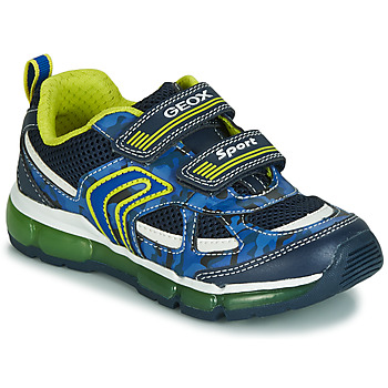 Schoenen Jongens Lage sneakers Geox J ANDROID BOY Marine / Geel / Led