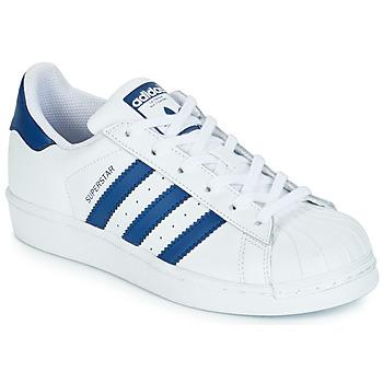 Schoenen Kinderen Lage sneakers adidas Originals SUPERSTAR J Wit / Blauw
