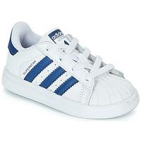 Schoenen Kinderen Lage sneakers adidas Originals SUPERSTAR EL Wit / Blauw