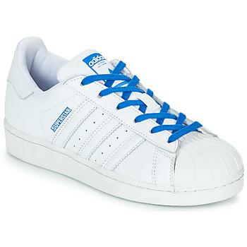 Schoenen Meisjes Lage sneakers adidas Originals SUPERSTAR J Wit / Blauw