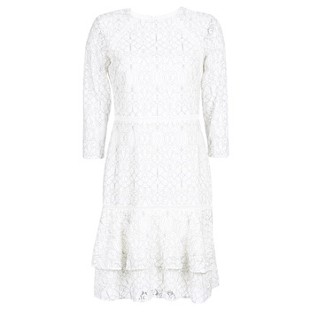 Textiel Dames Korte jurken Lauren Ralph Lauren LONG SLEEVE-LACE DAY DRESS Wit / Zwart