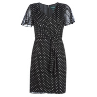 Textiel Dames Korte jurken Lauren Ralph Lauren POLKA DOT-SHORT SLEEVE-DAY DRESS Zwart