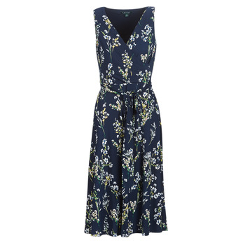Textiel Dames Lange jurken Lauren Ralph Lauren FLORAL PRINT-SLEEVELESS-DAY DRESS Marine