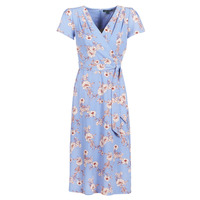 Textiel Dames Lange jurken Lauren Ralph Lauren FLORAL PRINT- SHORT SLEEVE-DAY DRESS Blauw