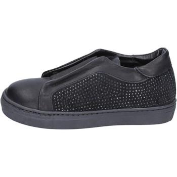 Schoenen Meisjes Instappers Holalà sneakers nero pelle camoscio BT374 Nero
