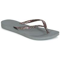 Schoenen Dames Slippers Havaianas SLIM LOGO METALLIC Grijs