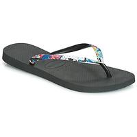 Schoenen Dames Slippers Havaianas SLIM STRAPPED Zwart
