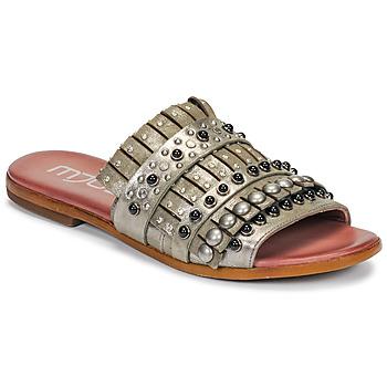 Schoenen Dames Leren slippers Mjus CHAT MULE Kaki / Métal