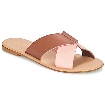 Schoenen Dames Leren slippers André CRYTELLE Brown