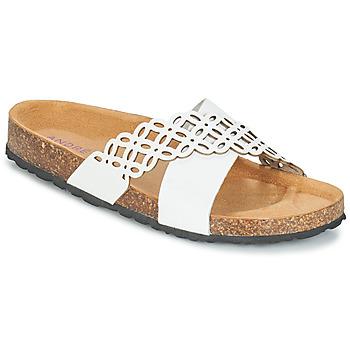 Schoenen Dames Leren slippers André ROULADE Wit