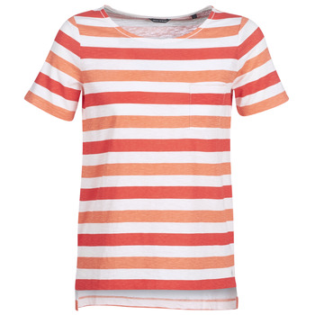 Textiel Dames T-shirts korte mouwen Marc O'Polo CARACOLINE Wit / Orange