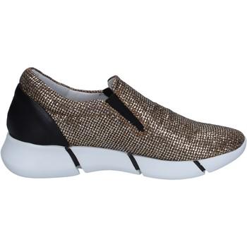 Schoenen Dames Instappers Elena Iachi slip on mocassini oro glitter nero pelle BT588 Oro