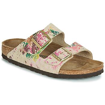 Schoenen Dames Leren slippers Birkenstock ARIZONA Beige