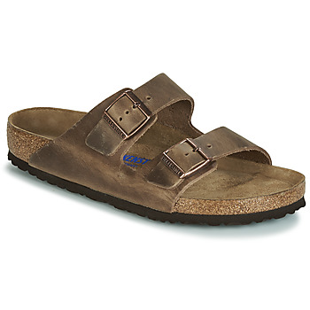 Schoenen Heren Leren slippers Birkenstock ARIZONA SFB Brown