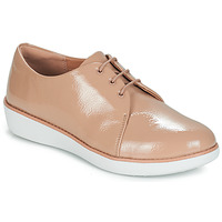 Schoenen Dames Derby FitFlop DERBY CRINKLE PATENT Taupe