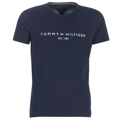 Textiel Heren T-shirts korte mouwen Tommy Hilfiger TOMMY FLAG HILFIGER TEE Marine