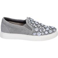 Schoenen Dames Instappers Sara Lopez slip on grigio tela pietre BT992 Grigio