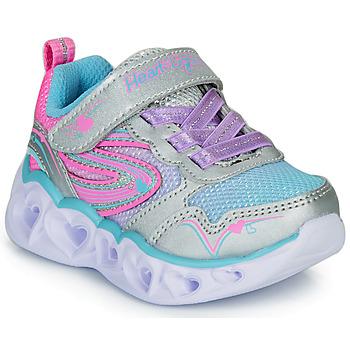 Schoenen Meisjes Lage sneakers Skechers HEART LIGHTS Zilver / Roze / Led