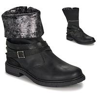 Schoenen Meisjes Hoge laarzen Ikks FLORA Zwart / Zilver