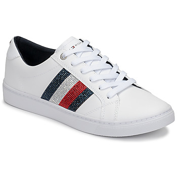 Schoenen Dames Lage sneakers Tommy Hilfiger CRYSTAL LEATHER CASUAL SNEAKER Wit
