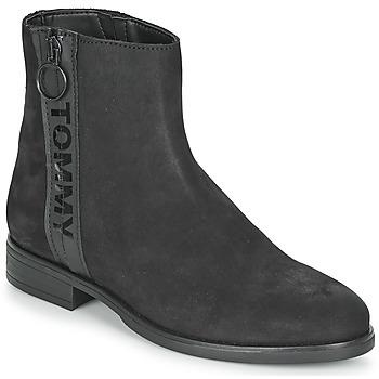 Schoenen Dames Laarzen Tommy Jeans TOMMY JEANS ZIP FLAT BOOT Zwart
