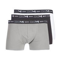 Ondergoed Heren Boxershorts DIM COTON STRETCH X3 Zwart / Grijs / Wit