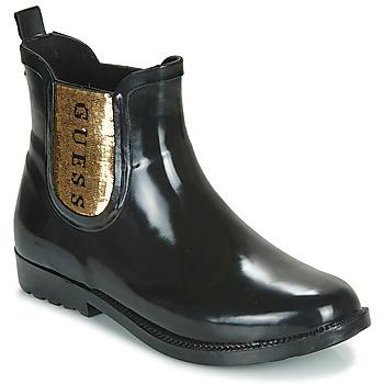 Schoenen Dames Regenlaarzen Guess REKHA3 Zwart / Goud
