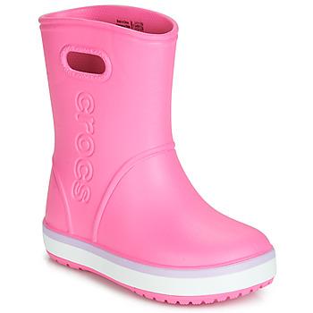 Schoenen Meisjes Regenlaarzen Crocs CROCBAND RAIN BOOT K Roze