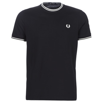 Textiel Heren T-shirts korte mouwen Fred Perry TWIN TIPPED T-SHIRT Zwart