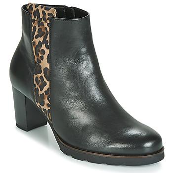 Schoenen Dames Enkellaarzen Gabor 3554122 Zwart / Leopard