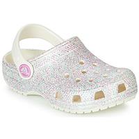 Schoenen Meisjes Klompen Crocs CLASSIC GLITTER CLOG K Wit
