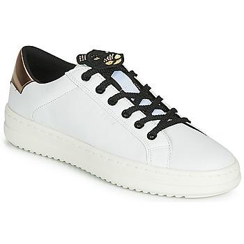 Schoenen Dames Lage sneakers Geox D PONTOISE Wit /  cuivré