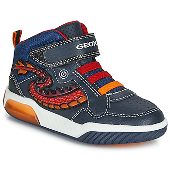 Schoenen Jongens Hoge sneakers Geox J INEK BOY Blauw / Rood / Led
