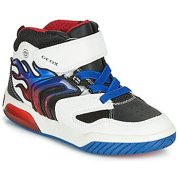 Schoenen Jongens Hoge sneakers Geox J INEK BOY Wit / Blauw / Led