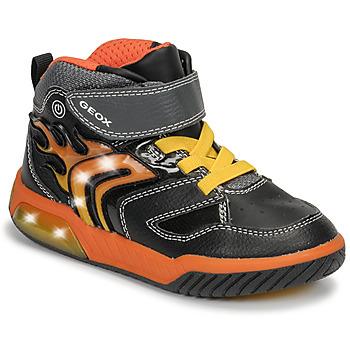 Schoenen Jongens Hoge sneakers Geox J INEK BOY Zwart / Orange