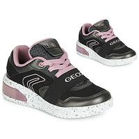 Schoenen Meisjes Hoge sneakers Geox J XLED GIRL Zwart / Roze / Led