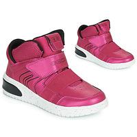 Schoenen Meisjes Hoge sneakers Geox J XLED GIRL Roze /  fuchsia / Zwart / Led