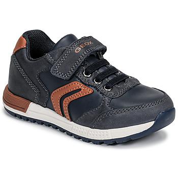 Schoenen Jongens Lage sneakers Geox B ALBEN BOY Blauw / Cognac