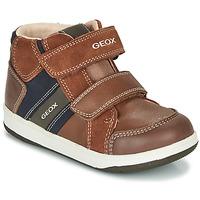 Schoenen Jongens Hoge sneakers Geox B NEW FLICK BOY Brown / Blauw