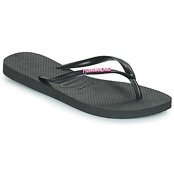 Schoenen Dames Slippers Havaianas SLIM LOGO METALLIC Zwart