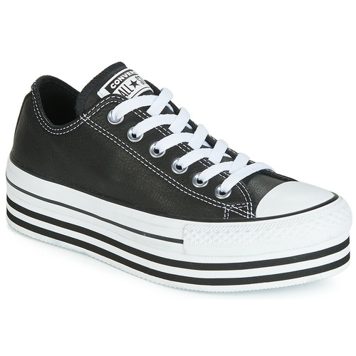 Schoenen Dames Lage sneakers Converse CHUCK TAYLOR ALL STAR LAYER BOTTOM LEATHER OX Zwart / Wit / Zwart