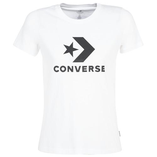 Textiel Dames T-shirts korte mouwen Converse STAR CHEVRON Wit