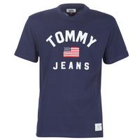 Textiel Heren T-shirts korte mouwen Tommy Jeans TJM USA FLAG TEE Marine