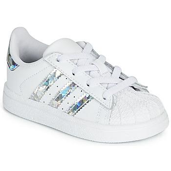 Schoenen Meisjes Lage sneakers adidas Originals SUPERSTAR EL I Wit / Zilver